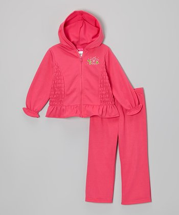 Pink Smocked Ruffle Fleece Zip-Up Hoodie & Pants - Infant