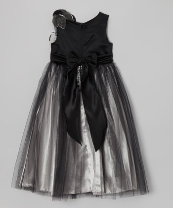 Black & Silver Corsage Dress - Toddler & Girls