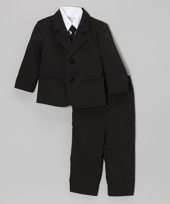 Black Pinstripe Suit Set - Infant, Toddler & Boys