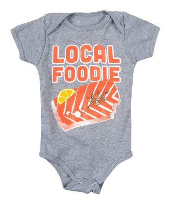 Gray 'Foodie' Salmon Bodysuit - Infant