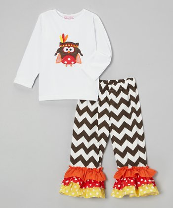 Orange & Black Owl Tee & Pants - Toddler & Girls