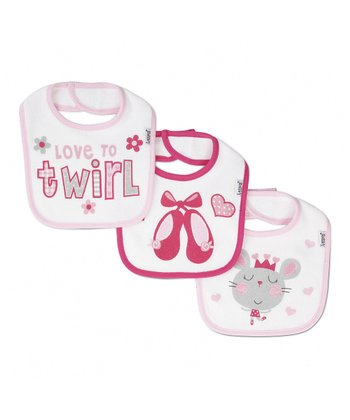 Pink & White 'Love To Twirl' Bib Set