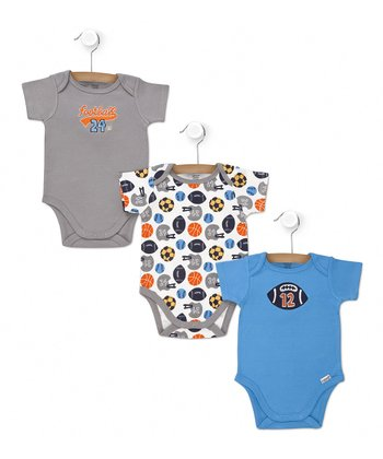 Gray & Blue Sports Bodysuit Set