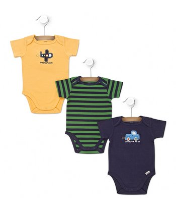 Navy & Green Stripe Car & Plane Bodysuit Set