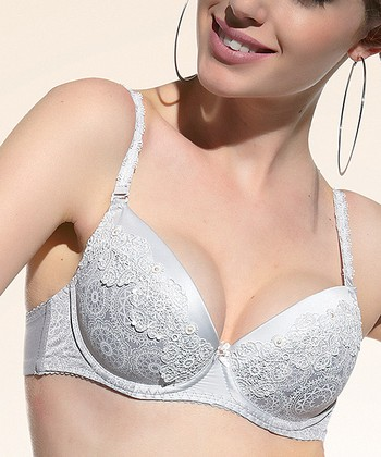 Light Gray Lace Jacquard Demi Bra - Women & Plus