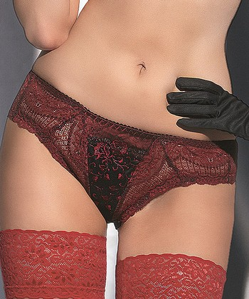 Merlot Mesh Embroidered Filigree Bikini Briefs - Women & Plus