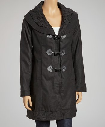 Black Ruched Collar Coat