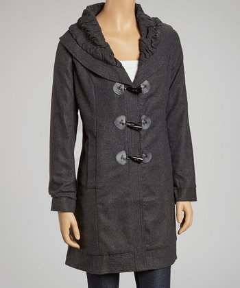 Gray Ruched Collar Coat