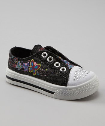 Black Glitter Slip-On Sneaker