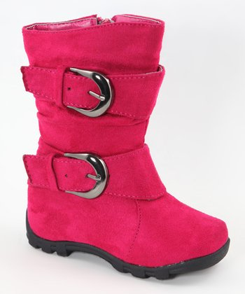 Fuchsia Slouch Double-Buckle Boot