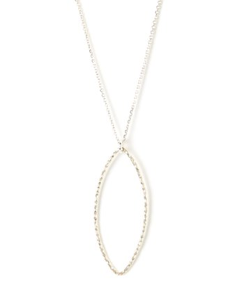 Silver Hammered Skinny Oval Charm Necklace