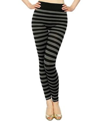 Gray & Black Stripe Seamless Leggings
