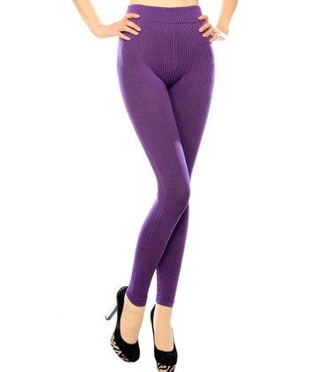 Purple Ribbed Seamless Leggings