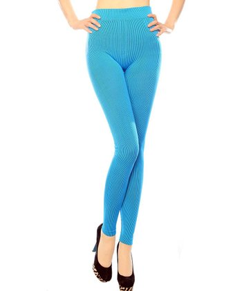 Turquoise Ribbed Seamless Leggings