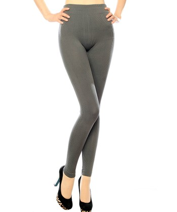Charcoal Ribbed Seamless Leggings