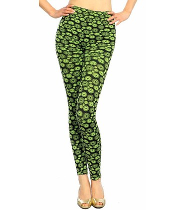 Lime Green & Black Sunflower Seamless Leggings