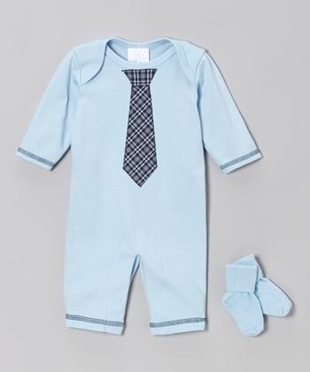 Blue & Navy Plaid Tie Playsuit & Socks - Infant