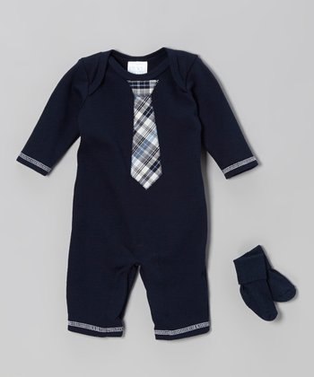 Navy Plaid Tie Playsuit & Socks - Infant