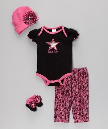 Baby Essentials Black & Hot Pink 'Little Star' Layette Set - Infant