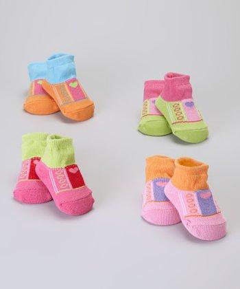 Baby Essentials Pink Heart Sneaker Sock Set