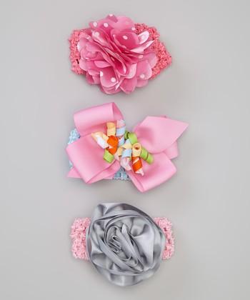 Baby Essentials Pink & Gray Rose Headband Set