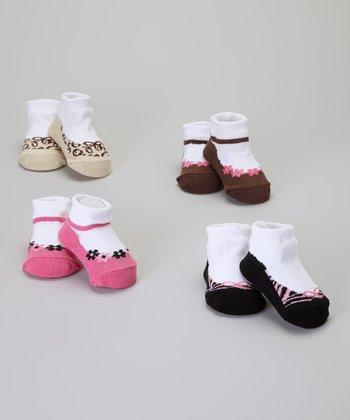 Baby Essentials Pink Flower & Bows Flat Sock Set