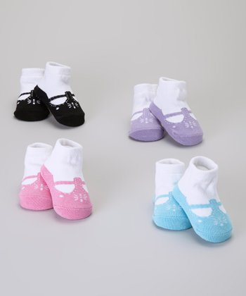 Baby Essentials Turquoise & Black T-Strap Sock Set