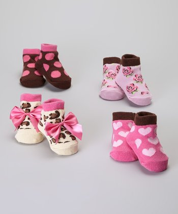 Baby Essentials Brown & Pink Sock Set