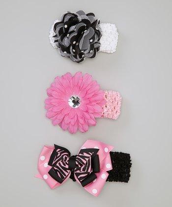 Baby Essentials Pink & Black Flower Bows Headband Set