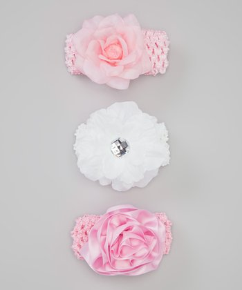 Baby Essentials Pink & White Rose Headband Set