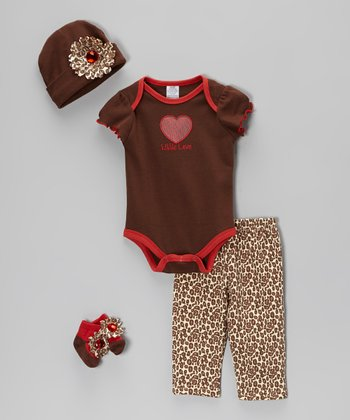 Baby Essentials Brown 'Little Love' Layette Set - Infant