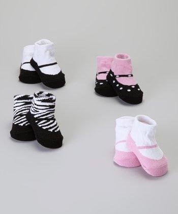 Baby Essentials Black & Pink Mary Jane Sock Set