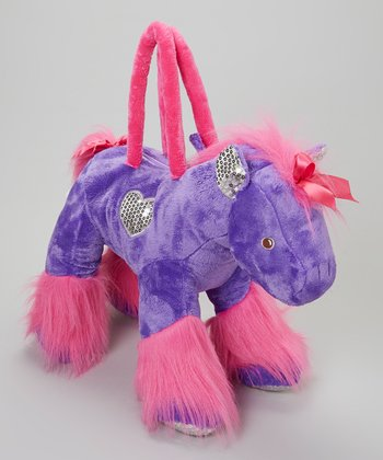 Purple & Pink Horse Overnight Bag