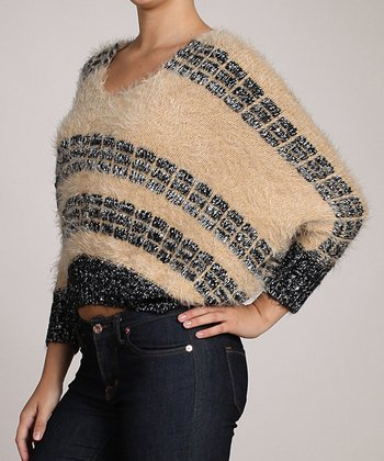 Beige & Black Fuzzy Dolman Sweater