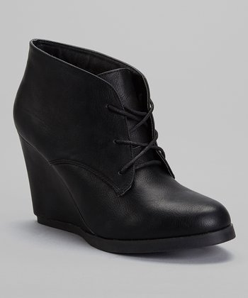 Black Caroline Wedge Bootie