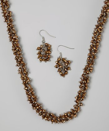 Brown Cluster Beaded Necklace & Drop Earrings
