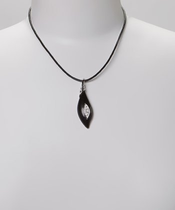 Black & Silver Crystal Abstract Pendant Necklace