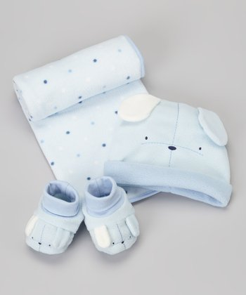 Blue Fleece Blanket, Hat & Booties Set