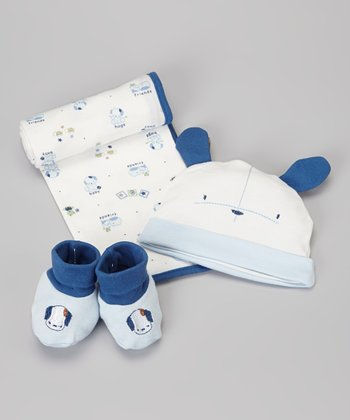 Blue Interlock Blanket, Hat & Booties Set