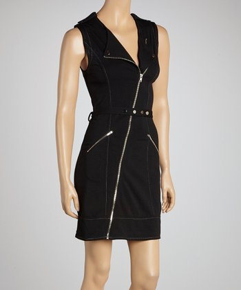 Black Zipper Belted Sleeveless Dress