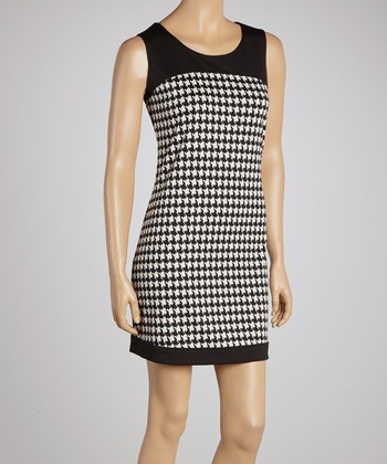 Black & White Houndstooth Sleeveless Dress
