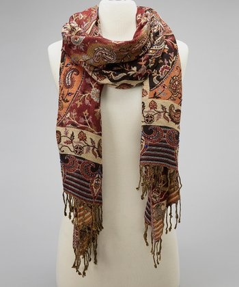 Brown & Black Paisley Scarf