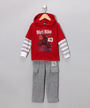Red 'Dirt Bike' Layered Hooded Tee & Pants - Infant & Toddler