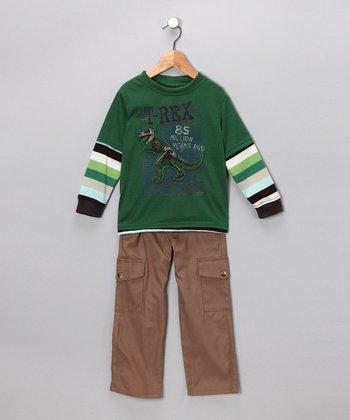 Green T-Rex Layered Tee & Pants - Toddler
