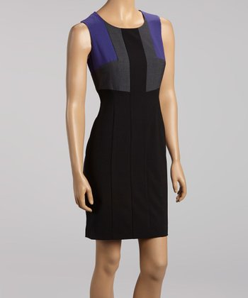 Black & Purple Color Block Dress