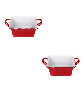 Red Handled Mini Rectangle Baker - Set of Two