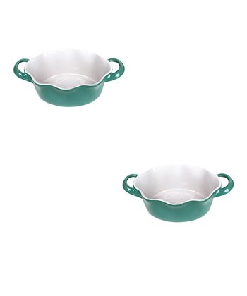 Blue Handled Mini Oval Baker - Set of Two