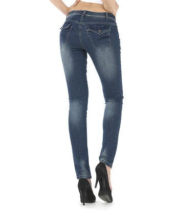 Ash Blue Fade-Out Flap Back Skinny Jeans
