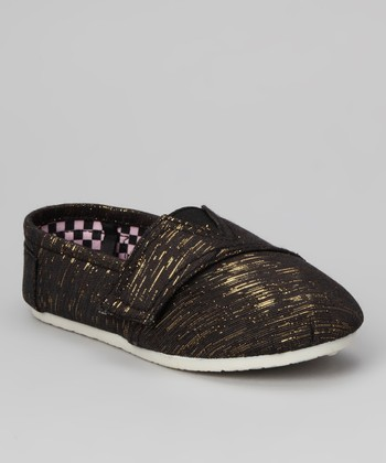Black Shimmer Lurex Slip-On Shoe