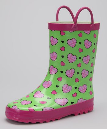 Green & Pink Heart Rain Boot